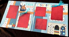 12x12 BOY Scrapbook Page 12x12 Premade BOY by JenSodowskyDesigns
