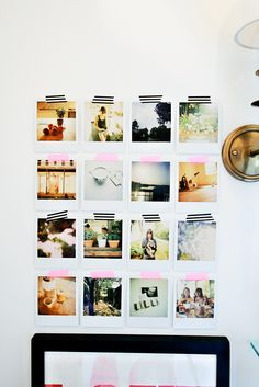 easy and stylish mini gallery wall.  i love the black/white striped washi tape and the pink washi tape.