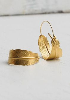 Gold FEATHER Hoop EARRINGS Woodland Nature Bird Autumn