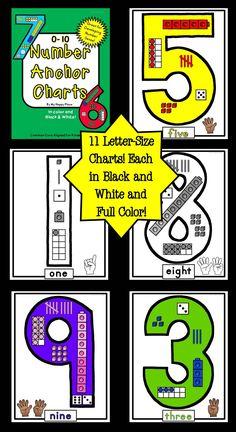 Number Anchor Charts: Common Core Aligned for Kindergarten. Includes charts for 0-10 in color and in black and white. $