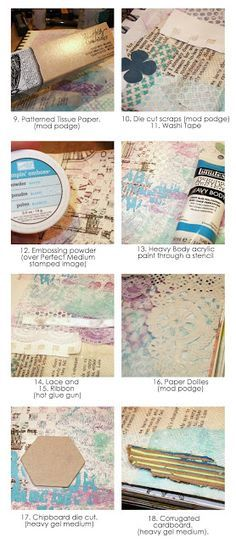 30 ways to add texture to your art journal pages: http://www.thepaperhaus.com/2013/08/30-ways-to-add-texture-to-your-art.html