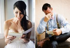 letters to eachother before the ceremony... Look at him!!! I. Love. This.