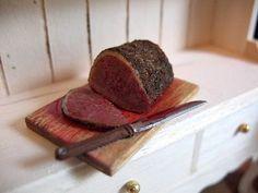1:12 scale roast beef by master miniature artist Kiva Atkinson.