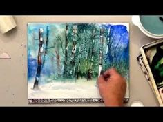 deb watson's free watercolor lesson - how to scrape out birch trees