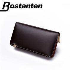 Bostanten Desigual Brand Genuine Leather Purse Men s Standard Wallet  Fashion Men s Clutch Bag with zipper free f41c4eb0ae0ea