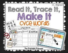 """Please download the preview for a closer look.  This activity can be used as a reading center or word work center to help students read, write and build long vowel CVCE words. Includes activities for the long vowels: A, I, O, and U.   4 different kid-friendly """"I Can"""" posters, both with and without Common Core standards listed on them.  This file contains 2 types of activities. -Two types of color Word Work mats. Students will read the word, trace the word using a dry erase marker, and then…"""