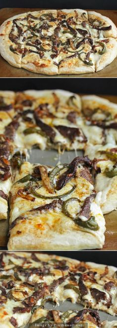 Philly Cheese Steak Pizza ~ *cheese. Prefer to use red, yellow or orange capsicums/bell peppers  not only colourful but tastier mmm