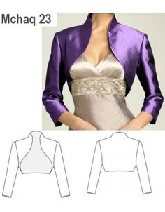Champagne Color Satin Bolero Shrug Made to Order All Sizes 16 Colors Available Fashion Sewing, Diy Fashion, Fashion Dresses, Fashion Trends, Bolero Pattern, Jacket Pattern, Dress Sewing Patterns, Clothing Patterns, Sewing Clothes