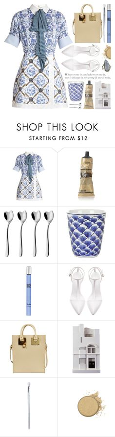"""""""toile de jouy dress"""" by jesuisunlapin ❤ liked on Polyvore featuring Mary Katrantzou, Aesop, Alessi, Pols Potten, Thierry Mugler, Zara, Sophie Hulme, Chisel & Mouse, Anastasia Beverly Hills and Sheryl Lowe"""