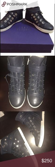 Authentic NEW NBW Stuart Weitzman Hi Tops! Authentic and amazing! Navy blue Stuart Weitzman cyclist casual hi top sneakers in perfect condition! Get them at a discount here! Would love to give these a good home! So cool and so chic!!! Awesome details too!! Round toe and genuine leather - out of stock in most places too! Stuart Weitzman Shoes Sneakers