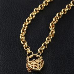 Fashion Love Heart Pendant 18K Real Gold Plated Jewelry Copper Necklace Gift for Women
