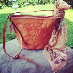 Vintage 1970s hand-tooled leather bag with 1940s silk scarf - Trilogy Consignment, Tarrytown NY