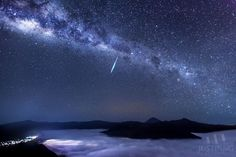 "Eta Aquarid Meteor Over Mount Bromo, East Java, Indonesia. 2013-05-05. (Credit: Justin Ng) The Eta Aquarids are caused by our passing through the debris stream of Comet Halley. The shower is a prominent feature in the southern skies. Mona Evans, ""Meteor Shower - the Perseids"" http://www.bellaonline.com/articles/art27461.asp"