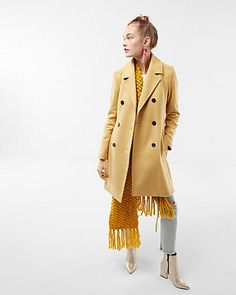 premium wool blend belted trench coat