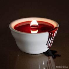 Halloween Candle - Gothic Candle - Bloody Horror Candle - Wooden Wick - Gothic Home Decor