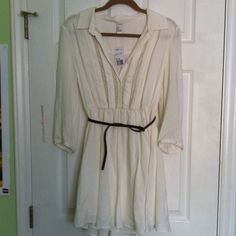 Soft, white dress. A beautiful soft, white, fit and flare dress from Forever 21. It has 3/4 length sleeves, adjustable belt, elasticized waist, a full skirt and lace detailing . It is fully lined and 33' from shoulder to hem. Never been worn! Forever 21 Dresses