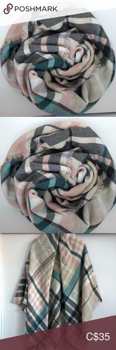 Indigo Wool Rich Plaid Shawl Scarf Dimensions x Indigo Accessories Scarves & Wraps Plus Fashion, Fashion Tips, Fashion Trends, Plaid Scarf, Scarf Wrap, Shawl, Indigo, Women Accessories, Scarves