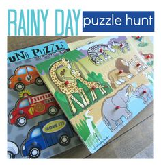 So simple!  Use puzzle pieces for a scavenger hunt.