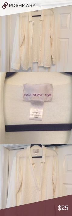 Off white button down Susan Graver Sweater 2x Off white Susan Graver button down sweater in good condition. 2x Susan Graver Sweaters Cardigans
