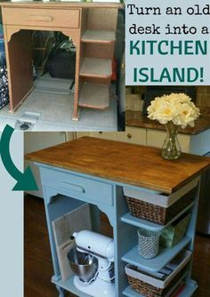 Turn an old desk into a kitchen island. furniture dresser furniture upcycling furniture diy furniture before and after furniture bedroom Refurbished Furniture, Repurposed Furniture, Painted Furniture, Rustic Furniture, Antique Furniture, Modern Furniture, Outdoor Furniture, Steel Furniture, Bedroom Furniture