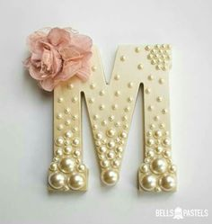 Decorative Wooden Letter for Baby Shower, Bridal Shower, or Nursery ~ 6 inch ~ Personalized with Assorted Pearls and Vintage Flower Detail - DIY Home Project Hanging Letters On Wall, Decorative Letters For Wall, Wood Initials, Wedding Initials, Wedding Letters, Decoration Shabby, Diy And Crafts, Arts And Crafts, Handmade Crafts