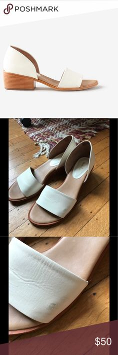 "Steven Alan cream d'Orsay sandals Steven Alan Wander sandals. Heel is approx 2"". Leather uppers and sole with a wooden heel. There are two small scuff marks on the left sandal. The bottoms show some signs of wear, but the sandals are still in very good condition overall. Steven Alan Shoes Sandals"