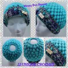 Crochet Messy Bun Beanie Messy bun hat Messy hair hat - #SFEtsyShow #SFEtsyPopUp