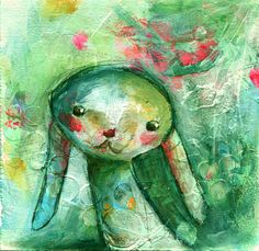 """Stephanie Schleicher's Art Blog.  Bunny from Mindy Lacefield's """"Frolic"""" class."""