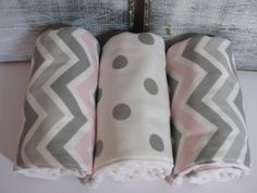 Diaper Burp Cloths - Pink and Gray Chevron with Gray Polka Dots   Set of 3 on Etsy, $18.00