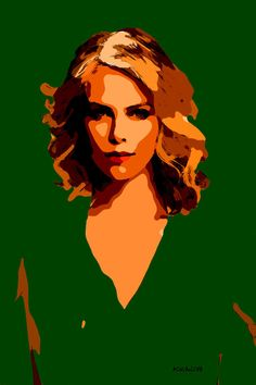 71-POP Art. Charlize Theron IV. (Pintura),  40x60 cm por ACQUAeLUNA Retrato POP Art Celebridades. La obra en tela se envía en un tubo reforzado para ser enmarcado por el coleccionista. Certificado de Autenticidad.   POP Art. En los cielos del arte hemos recorrido el vuelo del águila. Ahora, bajamos a la calle y sentimos el murmullo de lo cotidiano. (ACQUAeLUNA) Art in heaven we have come flying eagle. Now, we drove down the street and feel the buzz of everyday life.
