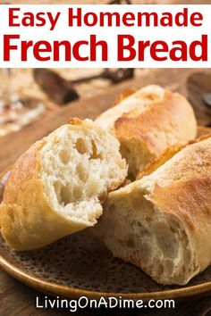 Easy Homemade French Bread Recipe This easy homemade French bread recipe makes the BEST French bread you'll ever eat! Quick & your family will LOVE it! You'll never go back to store bought! - Easy Homemade French Bread Recipe - Living on a Dime Easy French Bread Recipe, Homemade French Bread, Easy Bread Recipes, Gourmet Recipes, Cooking Recipes, French Baguette Recipe, Gluten Free French Bread, Chicken Recipes, Baguette