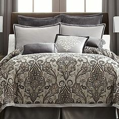 Royal Velvet Lourdes Gray Comforter Set & Accessories -I think this will be my new bedroom set in the new house!! with some deep purple added to it!!