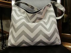 Grey and White Zig Zag Slouch Bag by Debos on Etsy, $39.00