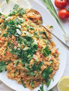 This Armenian Bulgur Salad called Itch or Eech is so similar to tabbouleh but with much less parsley and much less chopping. Its such an easy delicious fresh grain salad filling enough for lunch or perfect as a side dish with dinner. Bulgur Salad, Couscous, Whole Food Recipes, Dinner Recipes, Cooking Recipes, Crockpot Recipes, Vegetarian Recipes Easy, Healthy Recipes, Armenian Recipes