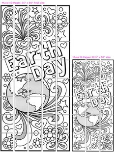 """Doodle Earth Day Murals · Art Projects for Kids. Use my """"Doodle"""" style Earth Day mural template to celebrate Earth Day for kids on April Have each student color a page, tape it back together, and you'll have a large, beautiful mural in no time. Preschool Art Projects, Collaborative Art Projects, Projects For Kids, Art Activities, Art Lessons For Kids, Art For Kids, Earth Day Crafts, Art Programs, Mural Art"""