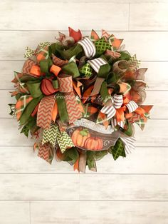 Fall is in the air! 🍁🍂 This Wreath is approximately 26 inches and inches in depth. Made with burlap-like deco mesh and orange, moss green, burlap-like plaid fabric deco , and various ribbons. Perfect for your fall decor, whether a door or a wall. Diy Fall Wreath, Fall Wreaths, Mesh Ribbon Wreaths, Door Wreaths, Fall Harvest Decorations, Fall Deco Mesh, Summer Deco, Thanksgiving Wreaths, Fall Halloween