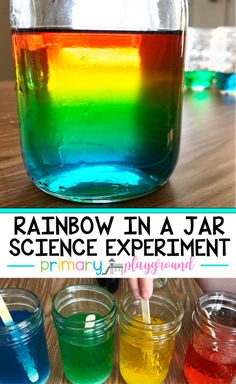 In A Jar Science Experiment - Primary Playground,Rainbow In A Jar Science Experiment,. Rainbow In A Jar Science Experiment - Primary Playground, Rainbow In A Jar Science Experiment - Primary Playground, Science Experiments For Preschoolers, Science Projects For Kids, Science Activities For Kids, Cool Science Experiments, Science Education, Elementary Education, Science Centers, Learning Activities, Science Experiments For Toddlers