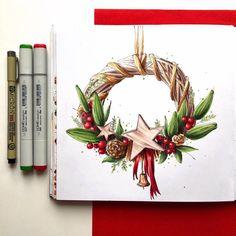 Немного новогоднего настроения 🎄☺️ #скетч #скетчбук #скетчинг #рисунок #рисуйкаждыйдень #sketch #drawing #sketchbook #sketching #onesketchaday #маркеры #markers #markerart #copic #copicart #copicsketch #touchmarkers #maxgoodz #markerpro_maxgoodz #christmaswreath #christmasdecorations #christmasmood #венок #новыйгод #новогоднеенастроение #интерьер #flowers #interior рождество с @lookandsketch