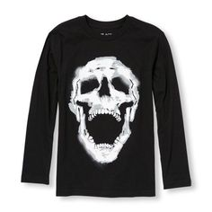 s Boys Long Sleeve Laughing Skull Graphic Tee - Black T-Shirt - The Children's Place