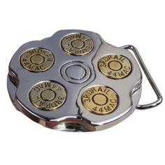 Little Hand Gun Revoler Spinner Bullet Barrel Mens Belt Buckles