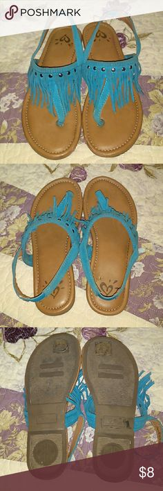 Girls Justice Fringe Sandals Sz 2 Girls Justice Fringe Sandals Sz 2. These are in great, used condition & are so cute! I bought them from another posher for my girls, but they're too small. Justice Shoes Sandals & Flip Flops