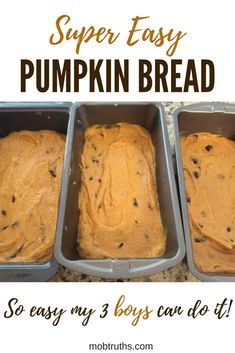 For a really fun fall activity to do with your kids look no further than your kitchen. Super easy pumpkin bread that you can cook with your kids! A fall tradition and delicious for thanksgiving dessert (or anytime really). Cooking With Kids Easy, Baking With Kids, Easy Recipes For Kids, Kids Cooking Recipes, Amazing Recipes, Healthy Cooking, Delicious Recipes, Healthy Recipes, Thanksgiving Desserts Easy