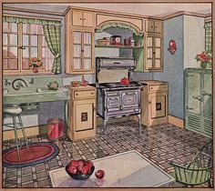 1928 linoleum ad - cute kitchen but no counter space