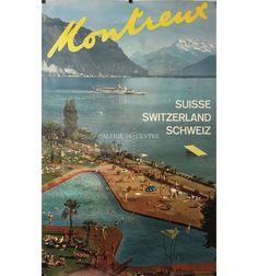 VAUD Montreux Suisse Switzerland Schweiz bateau lac et piscine vers 1950 Lausanne, Evian Les Bains, Fürstentum Liechtenstein, Swiss Travel, Swiss Design, Norway Travel, Journey, Vintage Travel Posters, Beautiful Places To Visit