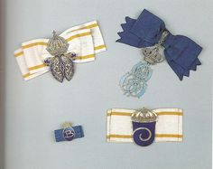 Badges for Members of the Dutch Royal Household (bearing the monograms of L-R and T-B : Queen Wilhelmina, Queen Emma, Queen Beatrix, Queen Juliana)