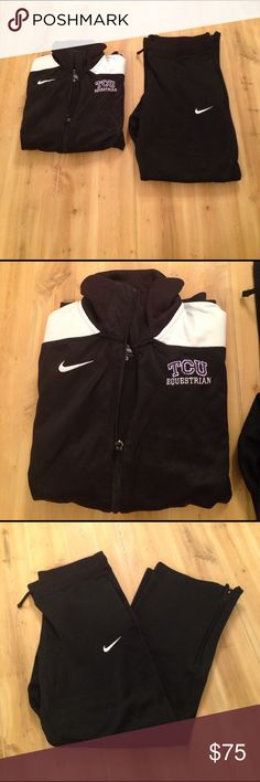 Final! Was $75- HP Nike TCU Equestrian Set Top- zip up dri-fit lightweight jacket size medium. Bottoms- size small, Nike therma fit pants with ankle zip. Both feature tcu logos and Nike logos. Excellent condition Nike Pants Sweatpants & Joggers