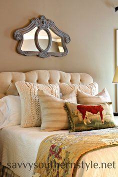 Savvy Southern Style: My Bed At The Moment - PB Quilt and Pillows, Home Decorators collection Headboard