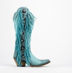 Turquoise + Fringe Tall Boots You Need In Your Closet Turquoise Cowboy Boots, Fringe Cowboy Boots, Fringe Ankle Boots, Cowboy Boots Women, Cowgirl Boots, Western Boots, Cowgirl Chic, Buckle Boots, Western Wear