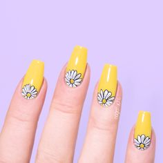 """Do you know """"Boy With Luv Nail Art""""? Today, I'll be showing you how to recreate my BTS """"Boy With Luv"""" inspired design. (Step by step) Daisy Nail Art Ideas Sunflower Nail Art, Daisy Nail Art, Daisy Nails, Easter Nail Designs, Cool Nail Designs, Nail Art Flowers Designs, Luv Nails, Pretty Nails, Spring Nails"""