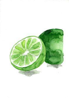 Lime art print lime watercolor print green citrus by TheJoyofColor